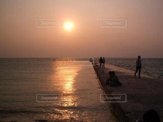 夕陽を眺めるの写真・画像素材[4648326]