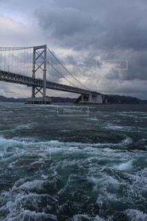 海,空,橋,水面,徳島県,鳴門大橋