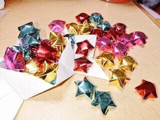 屋内,星,テーブル,たくさん,折り紙,クラフト,ラッピング,クリスマス ツリー,アート紙,クリエイティブアーツ,k_k