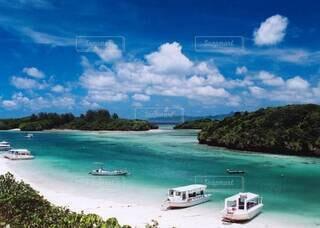 自然,海,空,湖,ビーチ,雲,ボート,島,水面,山