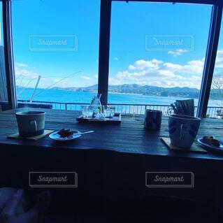 カフェ,海,空,屋内,ボート,窓,船,水面