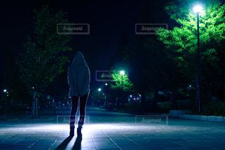 女性,公園,夜,後ろ姿,散歩,人物,逆光,人,japan,夜の公園,夜中,真夜中,青の世界,彼女,パーカー,ラフ