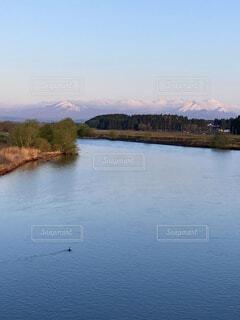 自然,空,鳥,屋外,湖,雲,川,水面,池,山,朝焼け,樹木,朝