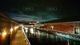 風景,橋,夜景,函館,赤レンガ,運河,港町