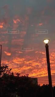空,雲,夕焼け,オレンジ