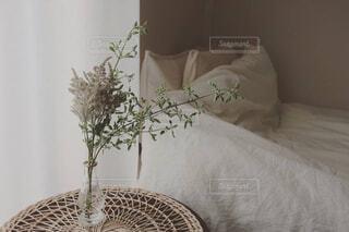 ベッドの上に座っている猫の写真・画像素材[4469667]