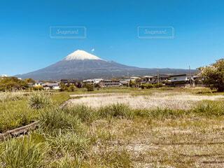 自然,風景,空,富士山,屋外,雲,山,景色,草,草木
