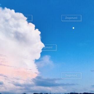 自然,風景,空,屋外,雲,青空,青,夕方,月,雷,日中,もくもく