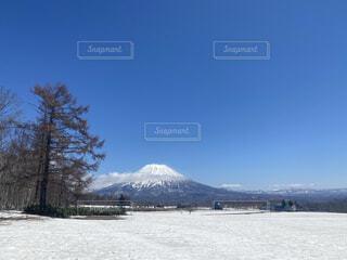 自然,空,春,雪,屋外,雲,晴天,北海道,山,樹木,ニセコ,日中,羊蹄山,niseko
