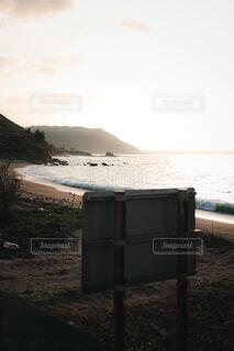 風景,海,空,夕日,屋外,太陽,ビーチ,水面,海岸,眺め,日中
