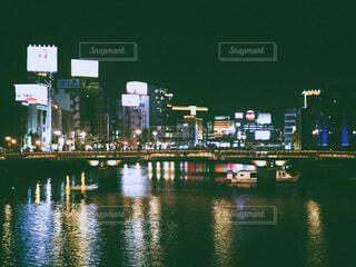 空,建物,夜,湖,船,水面,都会,高層ビル,フィルム,福岡,博多,テキスト,フィルム風