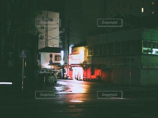 建物,夜,屋外,街,光,フィルム,通り,フィルム風