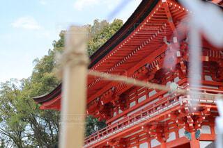 空,屋外,京都,神社,赤,樹木,寺