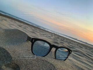 空,ビーチ,メガネ