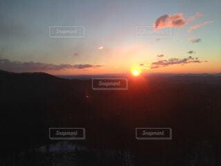 自然,空,温泉,屋外,太陽,雲,山,朝焼け,日の出