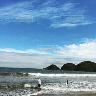自然,海,空,屋外,サーフィン,ビーチ,雲,水面,海岸,人物
