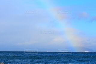 自然,海,空,屋外,青,虹,水面,日中