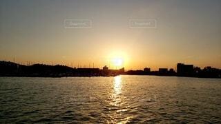 自然,海,空,屋外,夕暮れ,船,水面,海岸