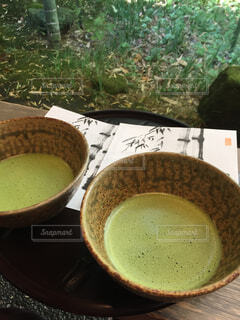 食べ物,コーヒー,屋外,抹茶,山,テーブル,カップ,お茶,日本庭園