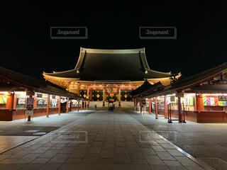 空,建物,夜,夜景,屋外,神社,浅草寺,道,ヤシの木,寺,建築,晴れた日