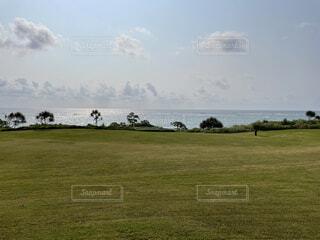 海,空,芝生,屋外,雲,沖縄,景色,水平線,草,樹木,朝,芝,伊計島,東海岸