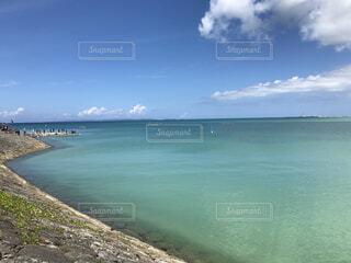 自然,風景,海,空,夏,屋外,ビーチ,雲,青い海,水面,海岸,沖縄,ハーリー,糸満,美々ビーチ