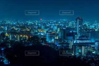 空,建物,夜,夜景,屋外,都市,街,タワー,都会,高層ビル,熊本,明るい