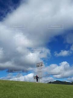 自然,空,屋外,緑,白,雲,晴天,青,景色,草,くもり