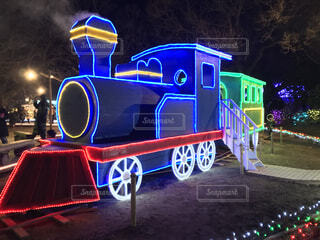風景,夜,屋外,綺麗,イルミネーション,クリスマス,汽車,鉄道,栃木県,車両,足利市,2019年