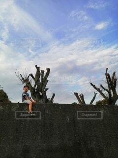 空,屋外,雲,散歩,樹木,人物,人,未来,男の子,草木