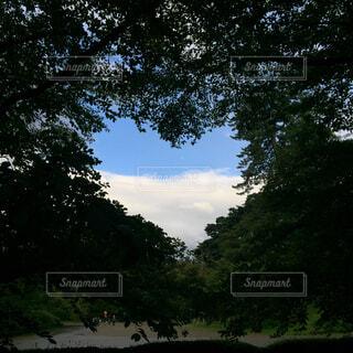 ハートからのぞく空と雲の写真・画像素材[4372032]