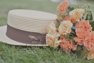 花,花瓶,帽子,オレンジ,草,草木,造花,カンカン帽子