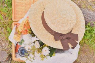 花,アクセサリー,帽子,麦わら帽子,トランク,造花,カンカン帽子