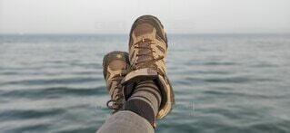 海,空,屋外,水面,リラックス,休日,くつ
