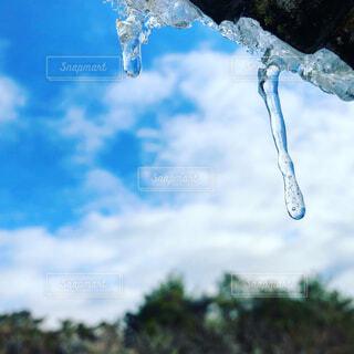 自然,空,冬,屋外,雲,青,空気,つらら,氷柱,日中
