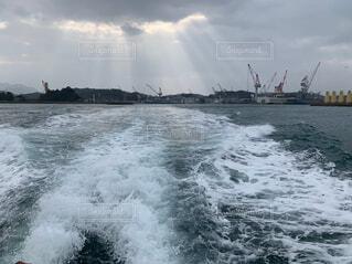 自然,海,空,屋外,波,船,水面