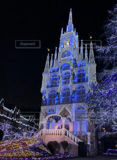 空,建物,夜,屋外,クリスマス,照明,明るい