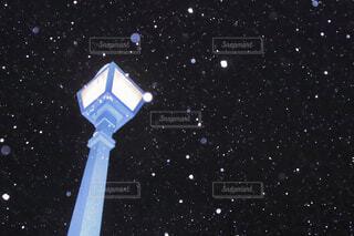 夜,雪,電灯,スノー
