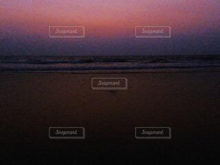 海,空,ビーチ,夕暮れ,水面,浜辺,色,グラデーション