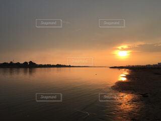 自然,風景,空,屋外,海外,太陽,雲,夕暮れ,川,水面,メコン川,ラオス