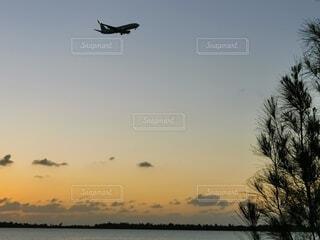 自然,風景,海,空,屋外,夕暮れ,海岸,飛ぶ,航空機