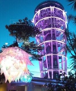 空,夜,ライト,樹木,イルミネーション,灯台
