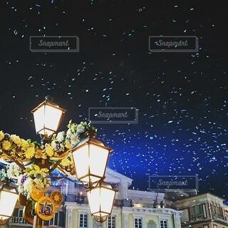 夜,綺麗,幻想的,ライト,シャボン玉,街灯
