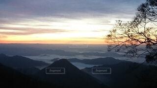 自然,風景,空,雪,屋外,雲,霧,山,樹木,雲海,日の出