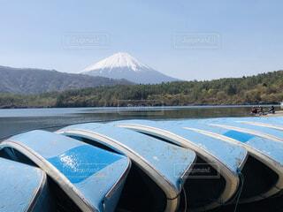 風景,空,富士山,湖,ボート,景色,樹木