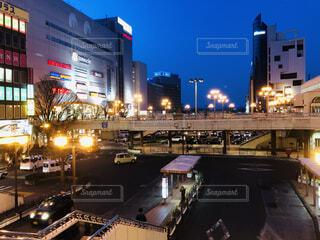 夜,駅,ネオン,景色,ターミナル