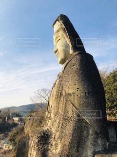 風景,空,屋外,雲,岩,像,彫刻,大谷石,平和観音,人間の顔