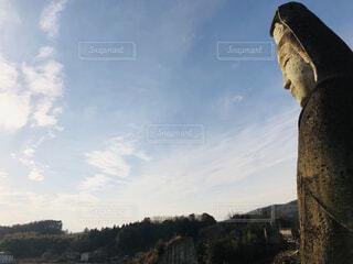 風景,空,屋外,雲,石,彫刻,石像,日中,大谷石