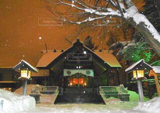 夜,雪,屋外,神社,night,winter,信濃神社