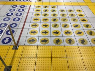 駅,黄色,床,点字ブロック,表示,タイル,サイン,パターン,タイル張り